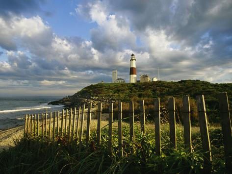 Lighthouse at Montauk with Dramatic Sky Photographic Print