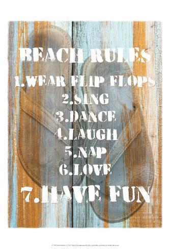 Beach Rules I Art Print