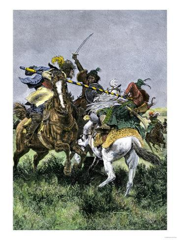Skirmish Between Russian and Swedish Cavalry at the Battle of Poltava, c.1709 Giclee Print