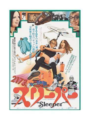 Sleeper, Japanese poster, Diane Keaton, Woody Allen, 1973 Art Print