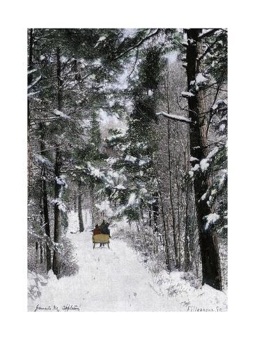 Sleigh-Ride Through the north Shore Woods, Massachusetts, 1800s Giclee Print