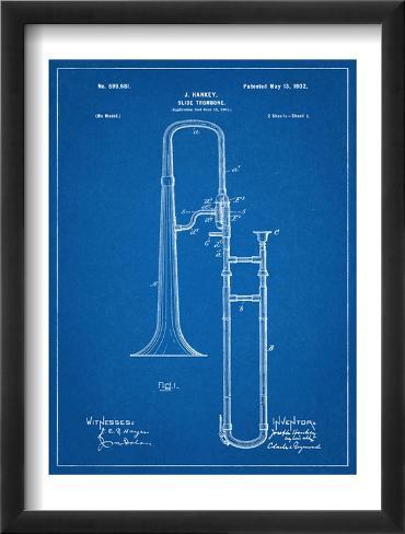 Slide Trombone Instrument Patent Framed Art Print