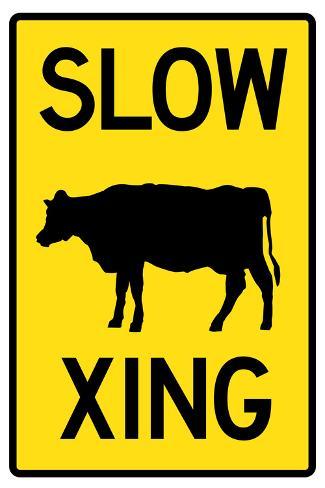 オールポスターズの slow cow crossing sign poster ポスター