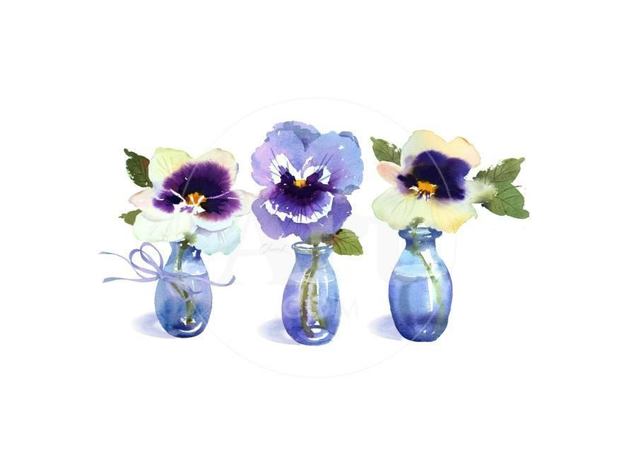 Small Blue Vases With A Single Pansy In Each Print At Allposters