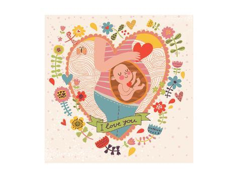 Pregnancy Concept Card In Cartoon Style Baby And Mother Love Inside Hearts Flowers