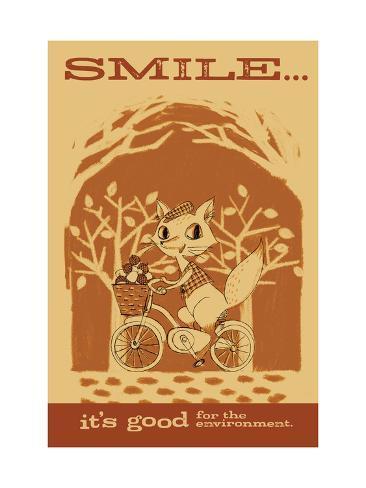 Smiling Squirrel on Bike Art Print