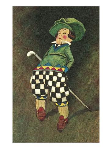 Smirking Little Golfer Art Print