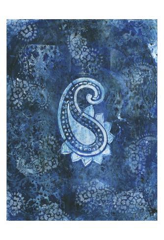 Cerulean Paisley Art Print