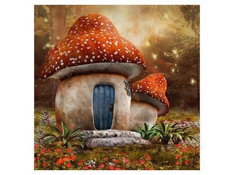 Smurfs Mushroom Meadow Cottage Art Print