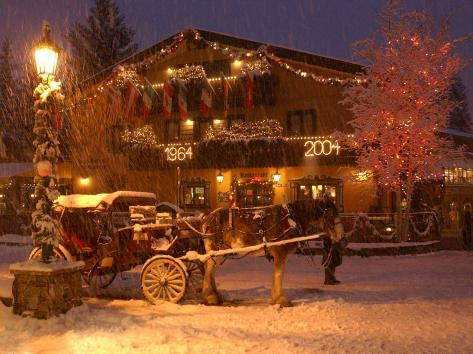 Snow from a Winter Storm Begins to Accumulate in Vail, Colo. Photographic Print