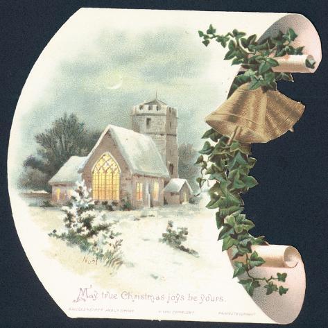 Snow Scene and Church, Christmas Card Giclee Print