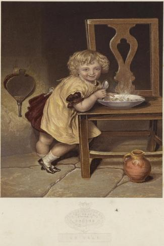 So Nice, a Depiction of a Young Girl Eating a Bowl of Steaming Food Giclée-vedos