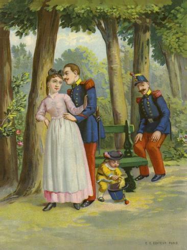 Soldier Making Advances to Maid in Park Giclee Print