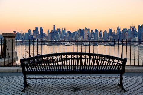 Bench in Park and New York City Midtown Manhattan at Sunset with Skyline Panorama View Photographic Print