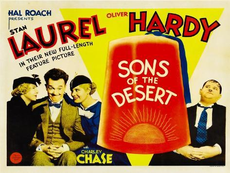 SONS OF THE DESERT, from left: Mae Busch, Stan Laurel, Dorothy Christy, Oliver Hardy, 1933. Impressão artística
