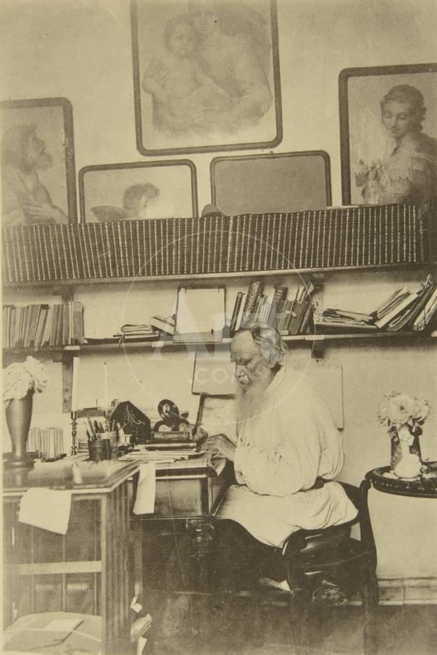 Incredible Russian Author Leo Tolstoy At Work 1890S Evergreenethics Interior Chair Design Evergreenethicsorg