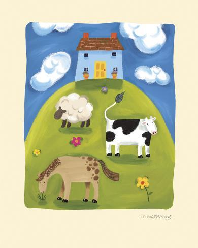Blue Farmhouse Art Print