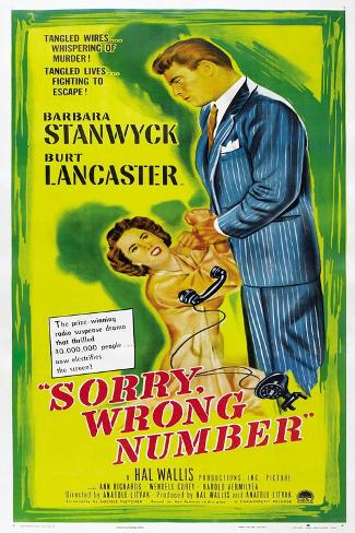 SORRY, WRONG NUMBER, US poster, from left: Barbara Stanwyck, Burt Lancaster, 1948 Art Print