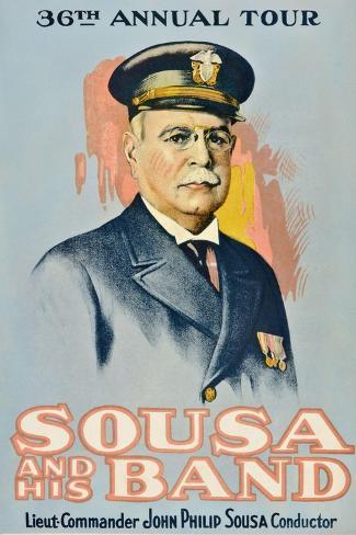 SOUSA AND HIS BAND, John Philip Sousa, 1901. Lámina