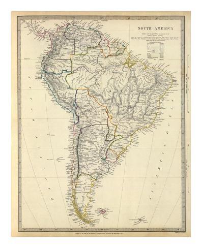 South America, c.1842 Art Print