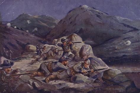 South-West African Troops in Action During a Night Reconnaissance, World War I, 1914-1915 Stampa giclée