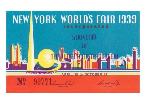 Souvenir Ticket to New York World's Fair, 1939 Art Print