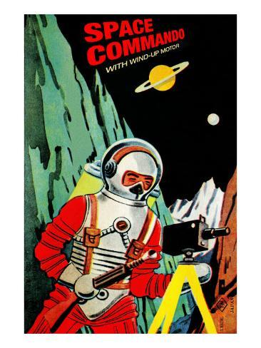 Space Commando Stretched Canvas Print