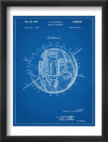 Space Station Satellite Patent Framed Art Print