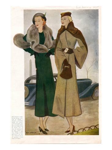 Spanish Fashion Coats, Magazine Plate, Spain, 1935 Giclee Print