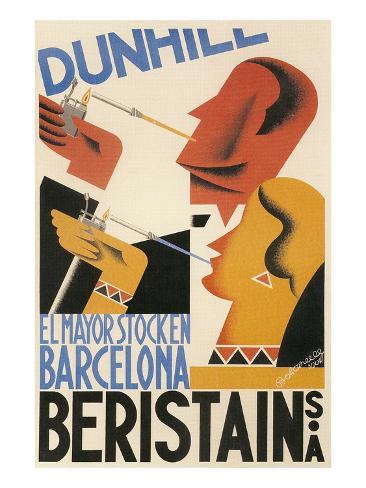 Spanish Poster with Smokers Art Print