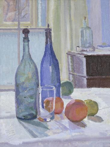 Blue and Green Bottles and Oranges Giclee Print