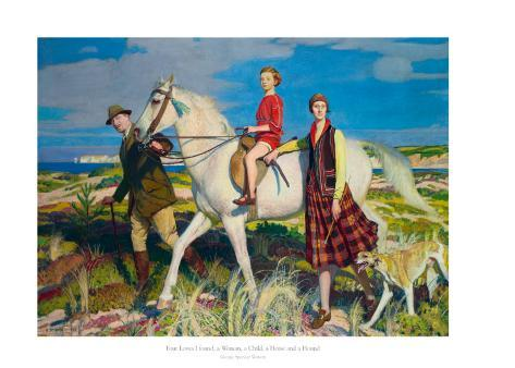 Four Loves I Found, a Woman, a Child, a Horse and a Hound Art Print