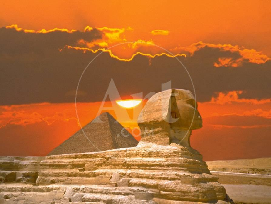 sphinx and pyramid at sunset photographic print at allposters com