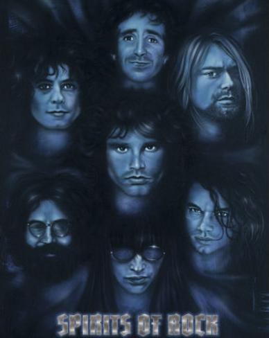 Spirits of Rock (Jim Morrison Jerry Garcia Kurt Cobain Joey Ramone Keith Moon Hutchence) Poster Mini Poster
