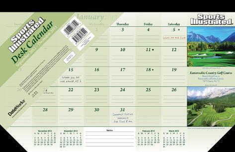 Sports Illustrated - Golf Courses - 2013 Desk Pad Calendar Calendars