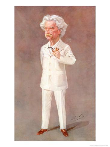 Mark Twain American Writer Born: Samuel Langhorne Clemens Pictured in a White Suit Giclee Print