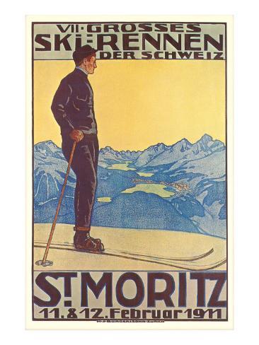 St. Moritz Ski Run, Art Deco Art Print