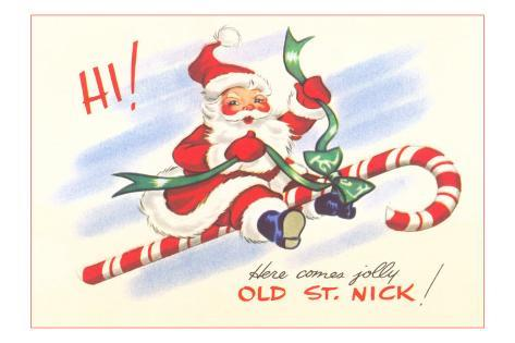 St. Nick Riding Candy Cane Masterprint