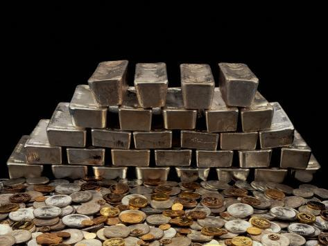Stack of Sliver Ingots And Pile of Coins Photographic Print