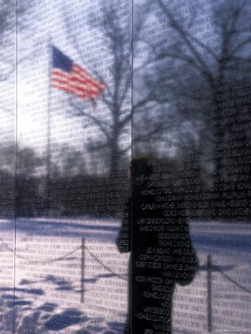 The American Flag Reflects into the Vietnam Memorial, Washington, D.C. Photographic Print
