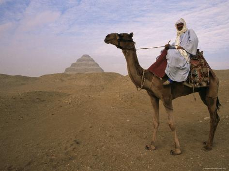 Bedouin Camel Rider in Front of Pyramid of Djoser, Egypt, North Africa Photographic Print