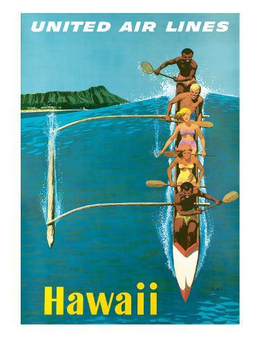 United Air Lines, Hawaii, Outrigger Canoe Giclee Print