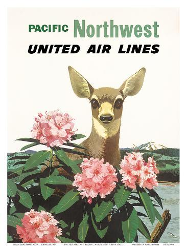 United Air Lines: Pacific Northwest, c.1960s Art Print