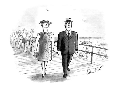 Man and wife handcuffed together. - New Yorker Cartoon Premium Giclee Print