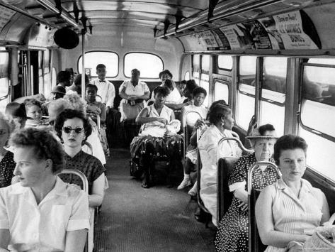 African American Citizens Sitting in the Rear of the Bus in Compliance with Florida Segregation Law Photographic Print