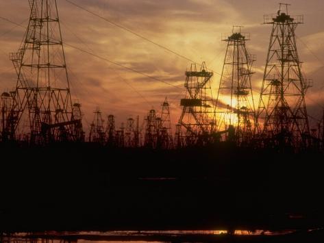Oil Derricks at Sunset at Baku, Azerbaijan, USSR Photographic Print