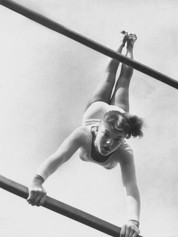 US Gymnast Muriel Davis Practicing at the National Gymnastic Clinic Photographic Print