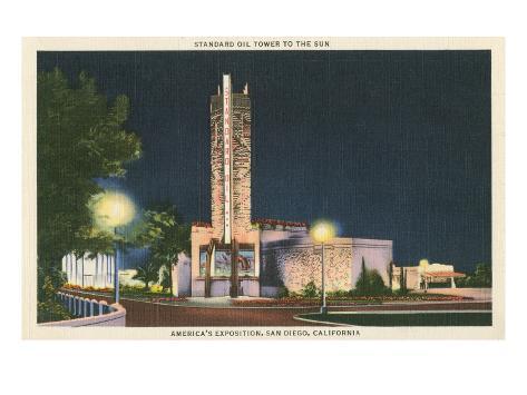 Standard Oil Tower, World's Fair, San Diego, California Stretched Canvas Print