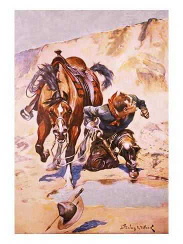 Cowboy Pursued by Indians. Stampa giclée