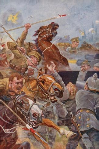 The Charge of the 9th Lancers During the Retreat from Mons Giclee Print